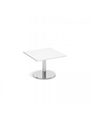 Square coffee table with round chrome base 700mm - white