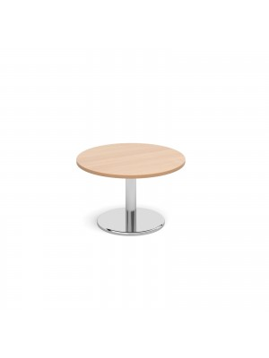 Circular coffee table with round chrome base 800mm - beech