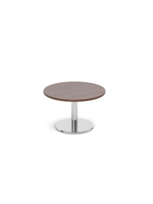 Circular coffee table with round chrome base 800mm - walnut