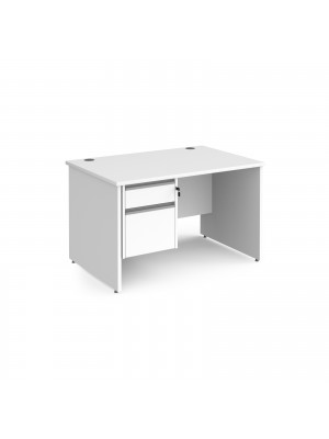 Contract 25 straight desk with 2 drawer silver pedestal and panel leg 1200mm x 800mm - white