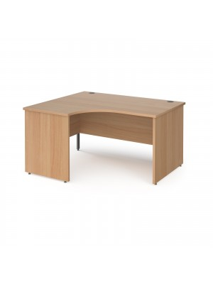 Contract 25 left hand ergonomic desk with panel ends and graphite corner leg 1400mm - beech
