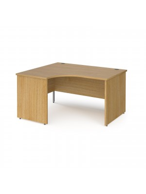 Contract 25 left hand ergonomic desk with panel ends and silver corner leg 1400mm - oak