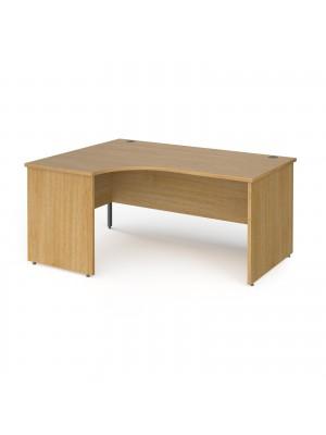 Contract 25 left hand ergonomic desk with panel ends and graphite corner leg 1600mm - oak