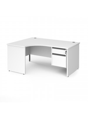 Contract 25 left hand ergonomic desk with 2 drawer graphite pedestal and panel leg 1600mm - white