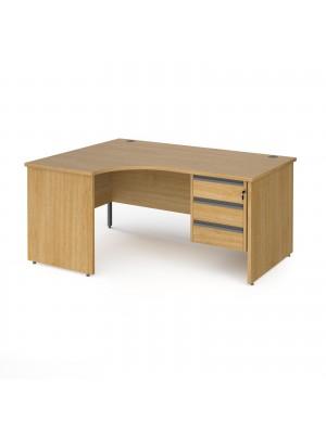 Contract 25 left hand ergonomic desk with 3 drawer graphite pedestal and panel leg 1600mm - oak