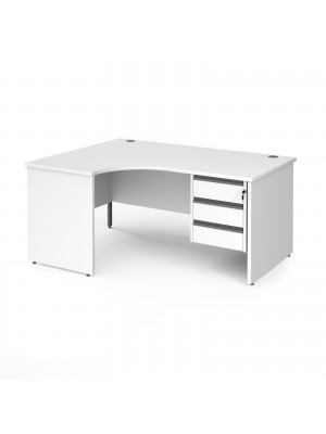 Contract 25 left hand ergonomic desk with 3 drawer graphite pedestal and panel leg 1600mm - white