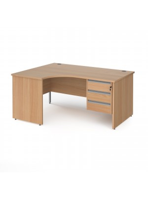 Contract 25 left hand ergonomic desk with 3 drawer silver pedestal and panel leg 1600mm - beech