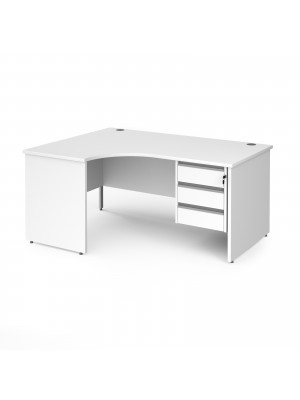Contract 25 left hand ergonomic desk with 3 drawer silver pedestal and panel leg 1600mm - white