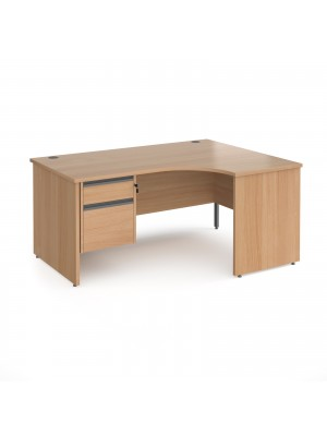 Contract 25 right hand ergonomic desk with 2 drawer graphite pedestal and panel leg 1600mm - beech