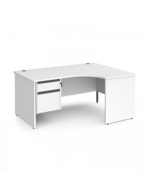 Contract 25 right hand ergonomic desk with 2 drawer graphite pedestal and panel leg 1600mm - white