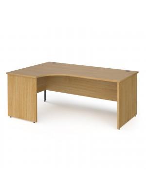 Contract 25 left hand ergonomic desk with panel ends and graphite corner leg 1800mm - oak