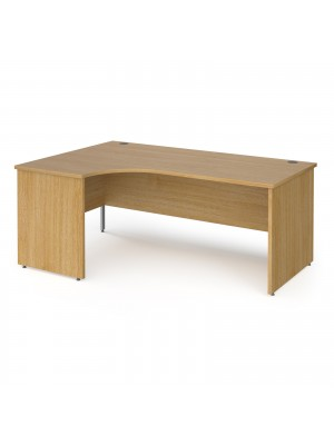 Contract 25 left hand ergonomic desk with panel ends and silver corner leg 1800mm - oak