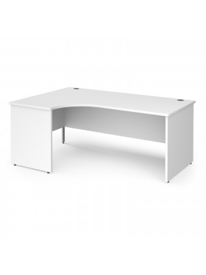 Contract 25 left hand ergonomic desk with panel ends and silver corner leg 1800mm - white
