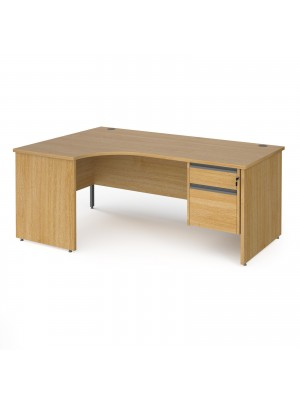 Contract 25 left hand ergonomic desk with 2 drawer graphite pedestal and panel leg 1800mm - oak
