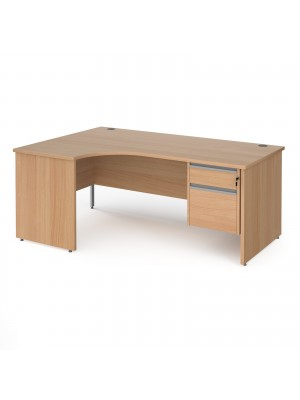 Contract 25 left hand ergonomic desk with 2 drawer silver pedestal and panel leg 1800mm - beech