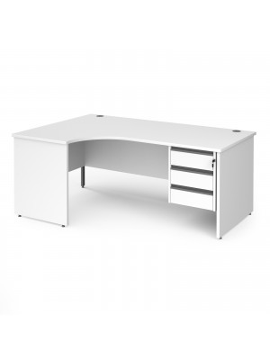 Contract 25 left hand ergonomic desk with 3 drawer graphite pedestal and panel leg 1800mm - white