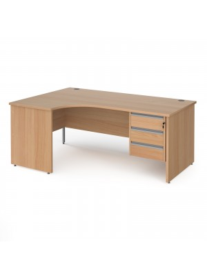 Contract 25 left hand ergonomic desk with 3 drawer silver pedestal and panel leg 1800mm - beech