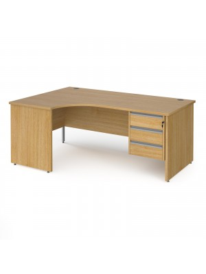 Contract 25 left hand ergonomic desk with 3 drawer silver pedestal and panel leg 1800mm - oak