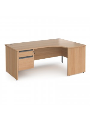 Contract 25 right hand ergonomic desk with 2 drawer graphite pedestal and panel leg 1800mm - beech