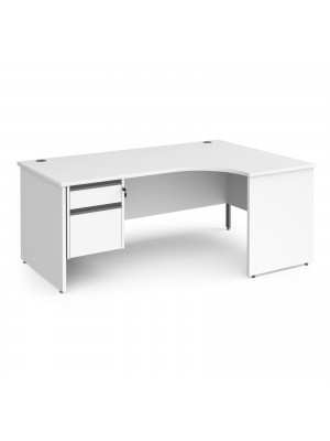 Contract 25 right hand ergonomic desk with 2 drawer graphite pedestal and panel leg 1800mm - white