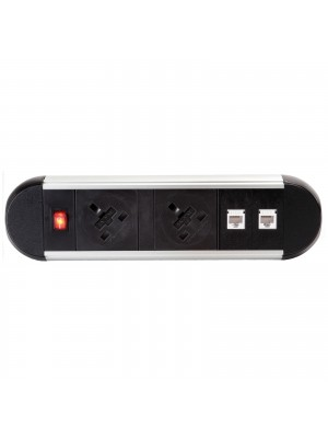Chroma clip-on power module 2 x UK sockets, 2 x RJ45 sockets - black