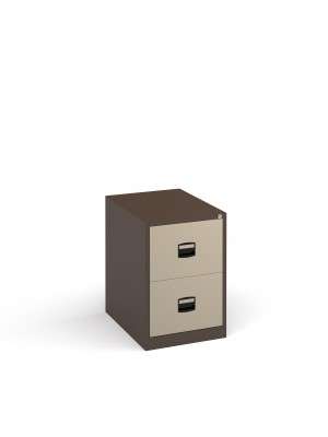 Steel 2 drawer contract filing cabinet 711mm high - coffee/cream