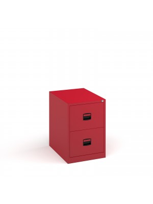 Steel 2 drawer contract filing cabinet 711mm high - red