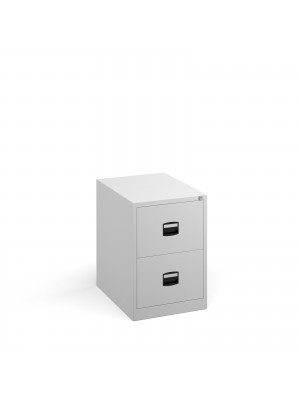 Steel 2 drawer contract filing cabinet 711mm high - white