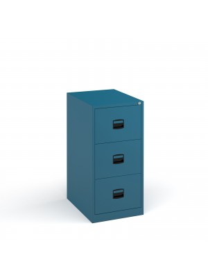 Steel 3 drawer contract filing cabinet 1016mm high - blue