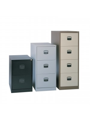 Steel 2 drawer contract filing cabinet 711mm high - goose grey