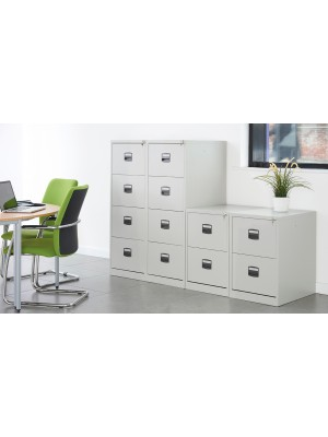 Steel 4 drawer contract filing cabinet 1321mm high - goose grey