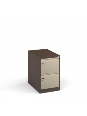 Steel 2 drawer executive filing cabinet 711mm high - coffee/cream