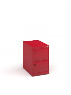 Steel 2 drawer executive filing cabinet 711mm high - red