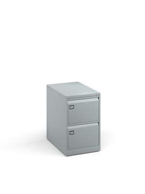 Steel 2 drawer executive filing cabinet 711mm high - silver