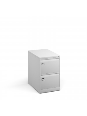 Steel 2 drawer executive filing cabinet 711mm high - white
