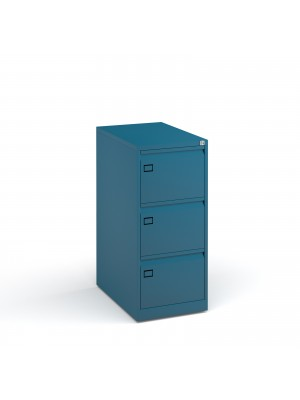 Steel 3 drawer executive filing cabinet 1016mm high - blue