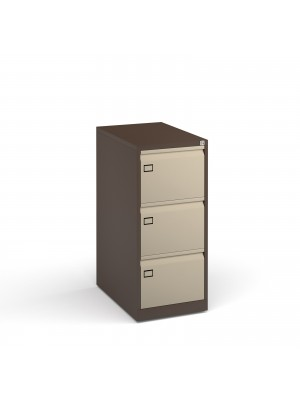 Steel 3 drawer executive filing cabinet 1016mm high - coffee/cream