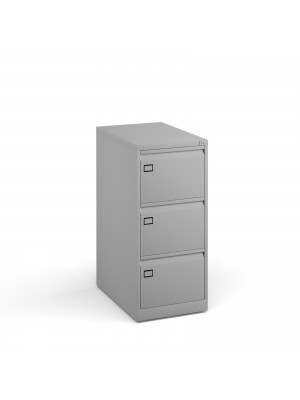 Steel 3 drawer executive filing cabinet 1016mm high - goose grey