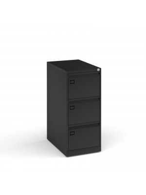 Steel 3 drawer executive filing cabinet 1016mm high - black