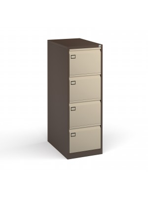 Steel 4 drawer filing cabinet 1321mm high - coffee/cream