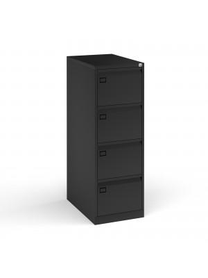 Steel 4 drawer filing cabinet 1321mm high - black