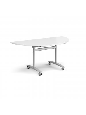 Semi circular deluxe fliptop meeting table with silver frame 1600mm x 800mm - white