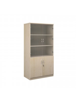 Deluxe combination unit with glass upper doors 2000mm high with 4 shelves - maple