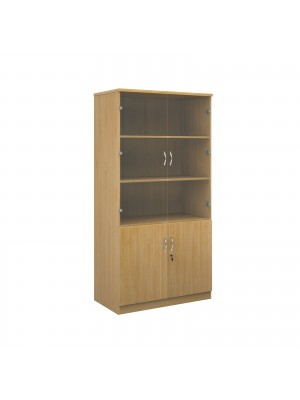 Deluxe combination unit with glass upper doors 2000mm high with 4 shelves - oak