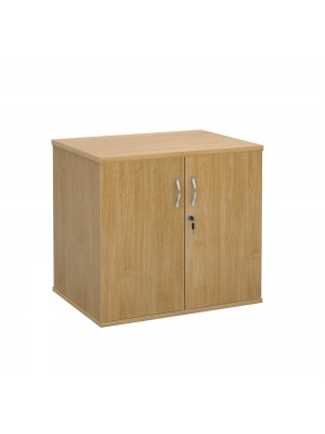 Deluxe double door desk high cupboard 600mm deep - oak