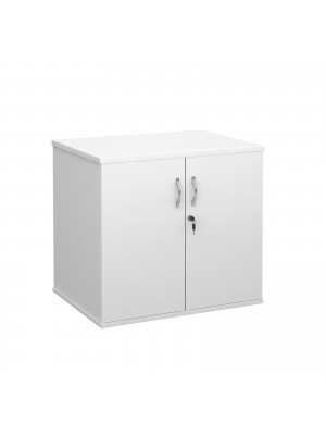 Deluxe double door desk high cupboard 600mm deep - white