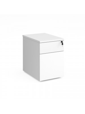 Deluxe 2 drawer mobile pedestal 600mm deep - white