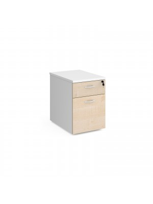Duo 2 drawer mobile pedestal 600mm deep - white with maple drawers