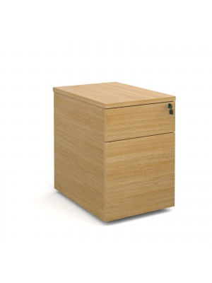 Deluxe 2 drawer mobile pedestal 600mm deep - oak