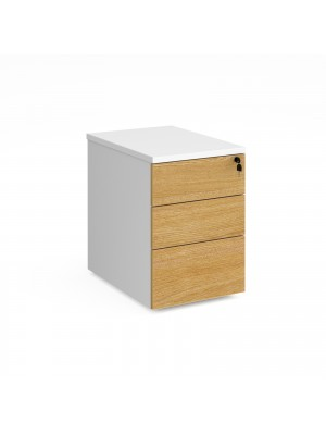 Duo 3 drawer mobile pedestal 600mm deep - white with oak drawers